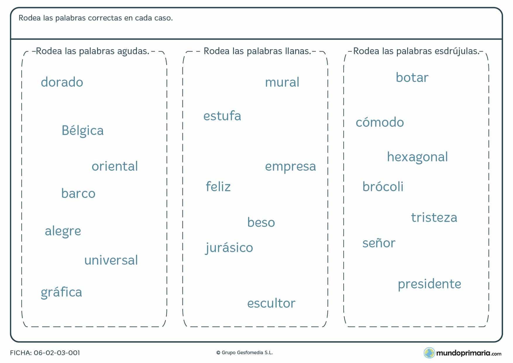Ficha de palabras agudas, llanas y esdrújulas para 4º de Primaria