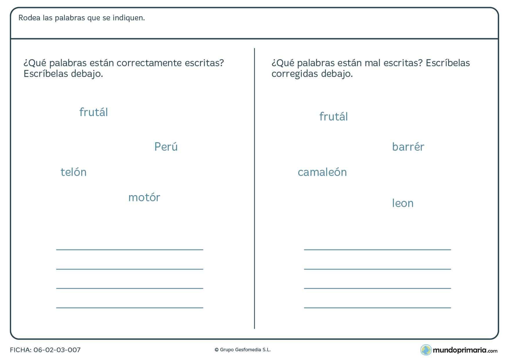 Ficha de diferentes tipos de acentos en distintas sílabas en Primaria