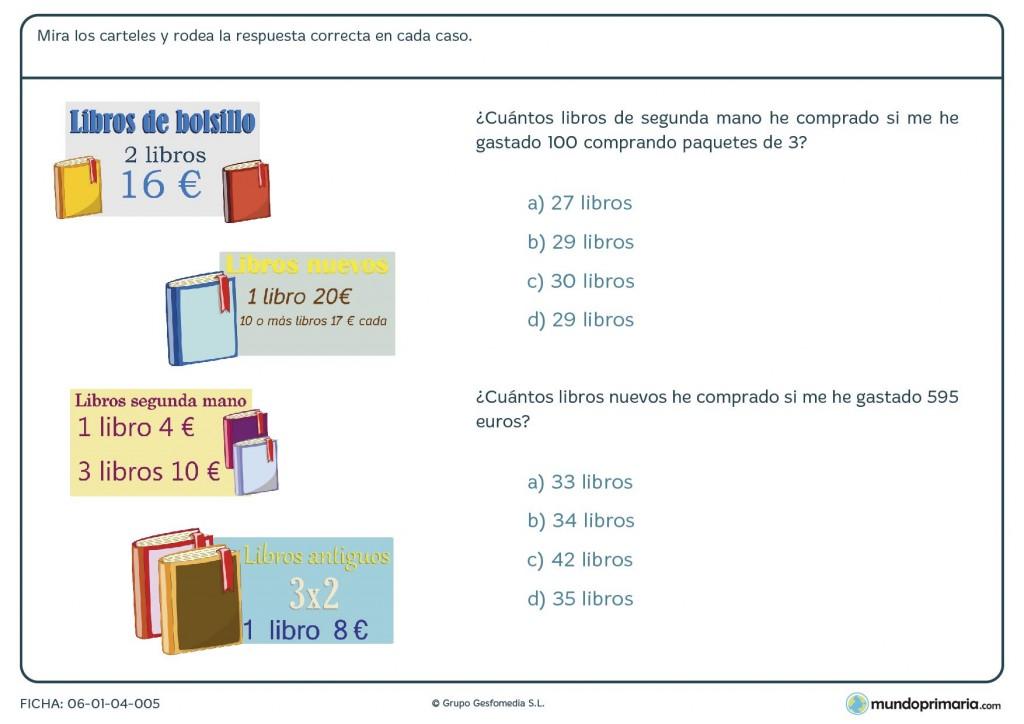 Ficha para responder y calcular leyendo los datos en los carteles 4º
