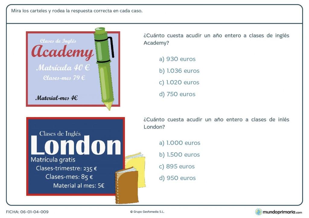 Fista para calcular el precio de las clases de inglés para Primaria