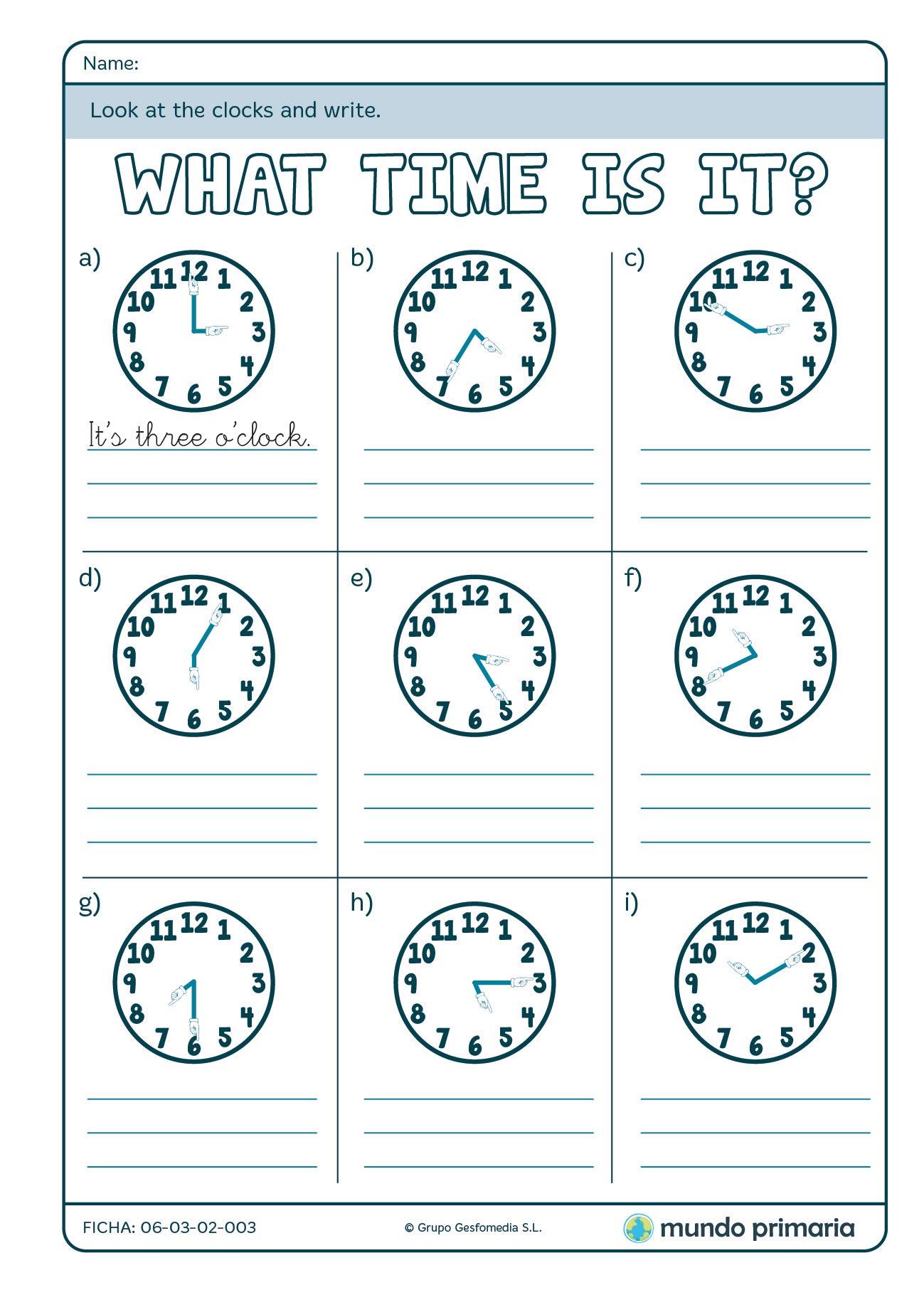 Ficha de identificar la hora en inglés para primaria