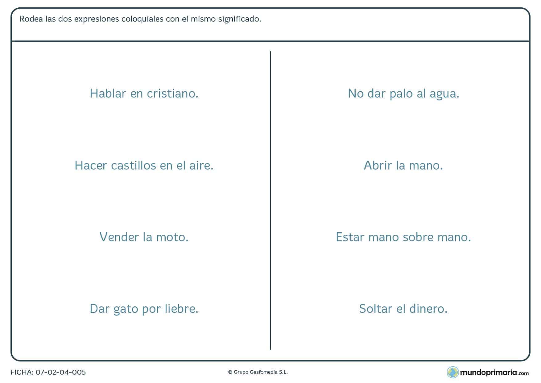 Ficha de lenguaje de frases hechas para niños de educación primaria