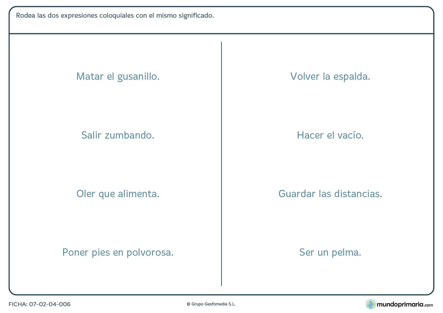 Ficha de comprender expresiones en la vida cotidiana papra Primaria
