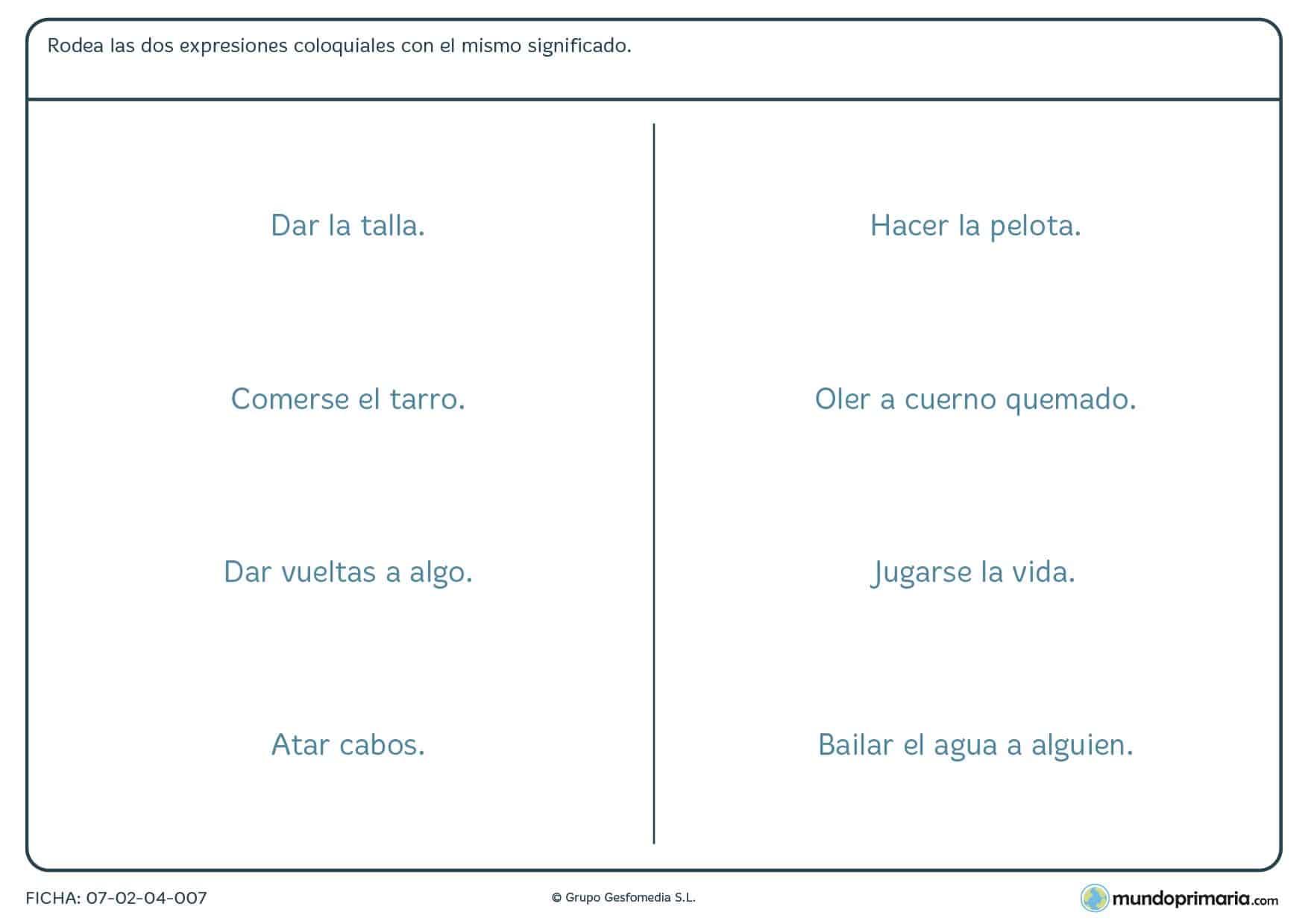 Ficha de emparejar las expresiones que sean similares para Primaria