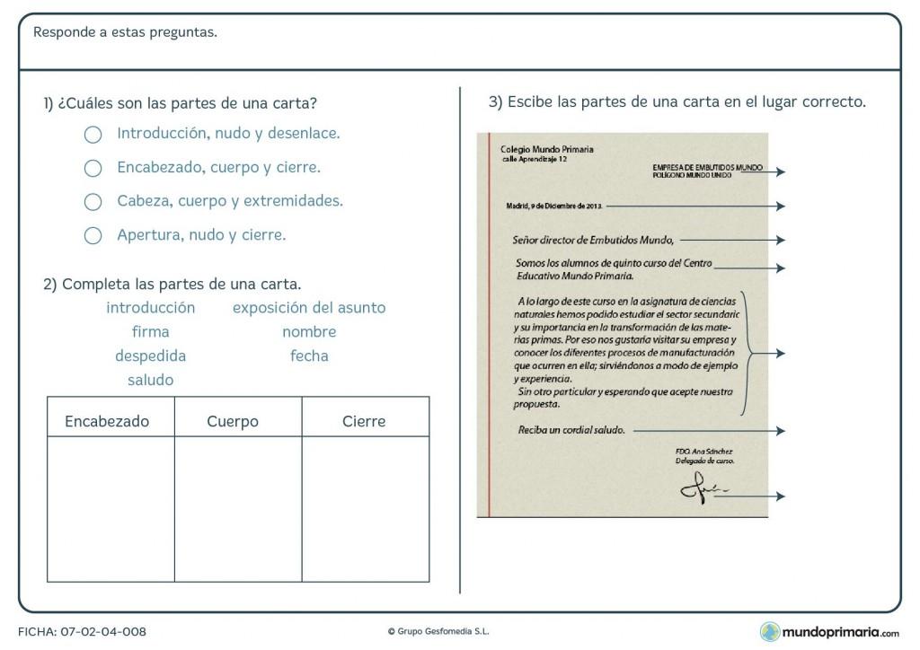 Ficha de responder a las preguntas sobre una carta para 5º de Primaria