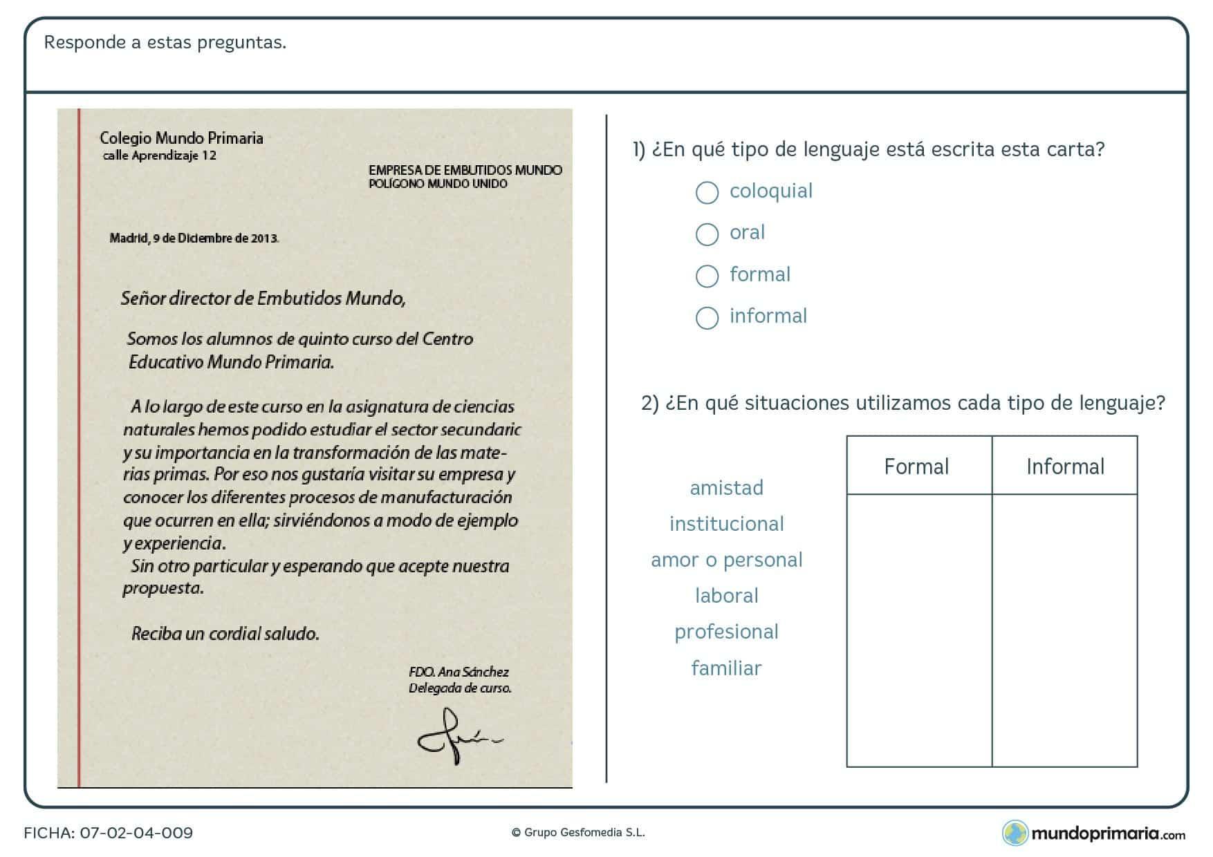 Ficha de contestar preguntas sobre los tipos de lenguaje de una carta