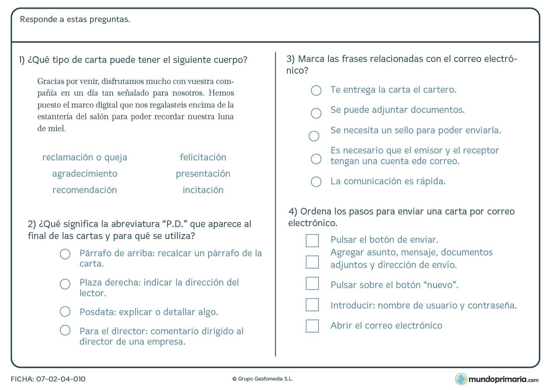 Ficha de cuatro preguntas sobre la carta anterior para 5º de Primaria