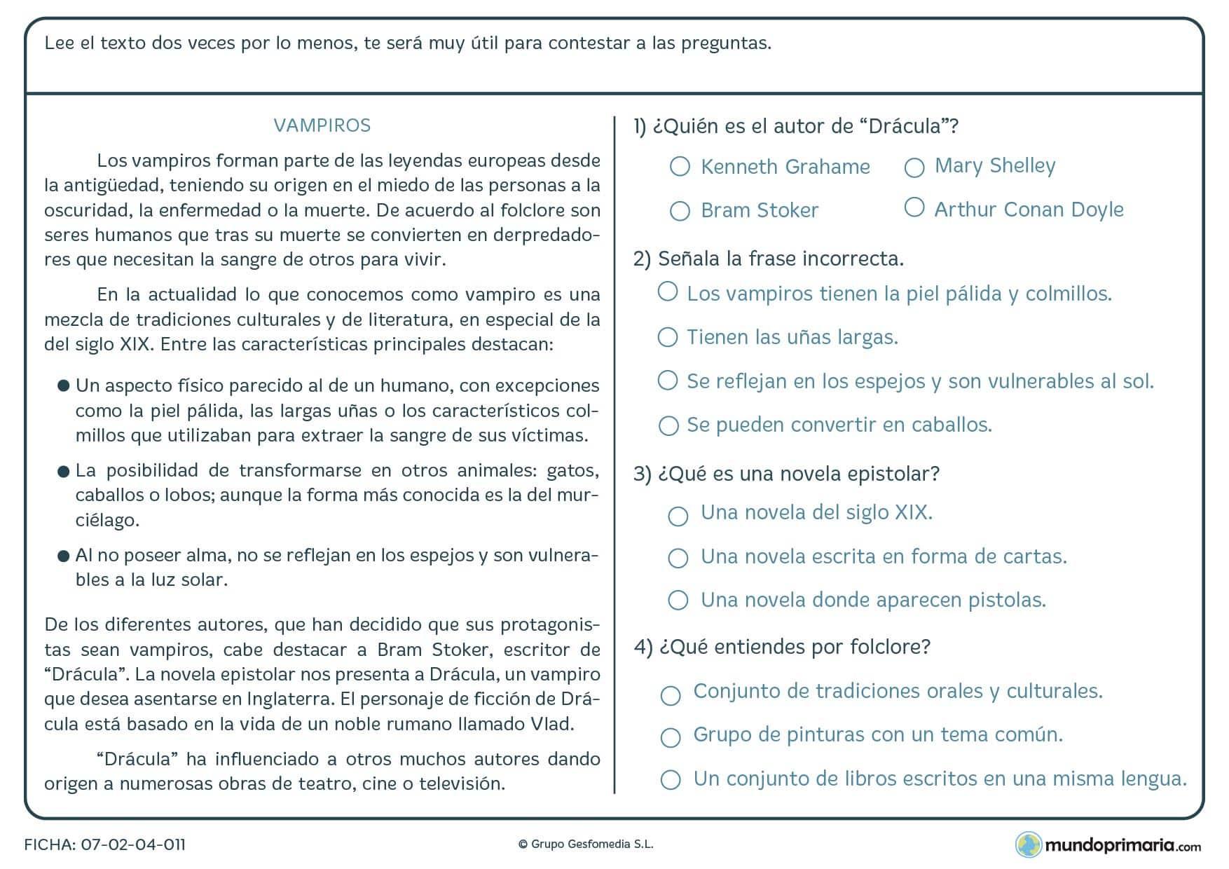 Ficha de un texto de vampiros para contestar varias preguntas para 5º