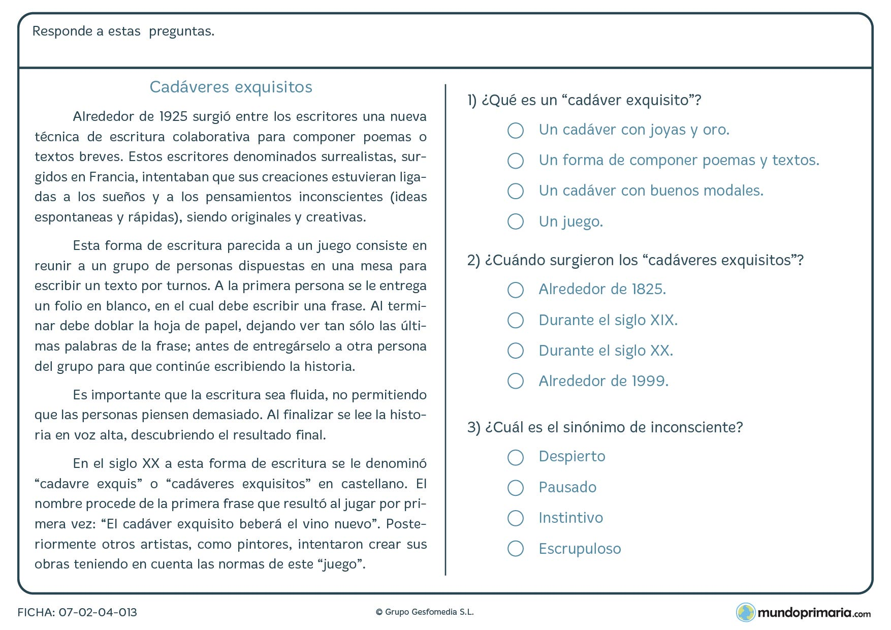 Ficha de un texto sobre cadáveres exquisitos para niños de Primaria
