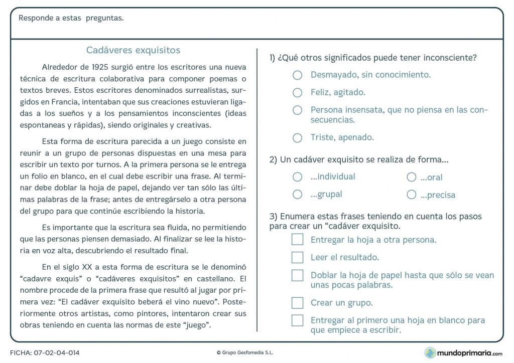 Ficha de lenguaje de responder preguntas del texto de cadáveres