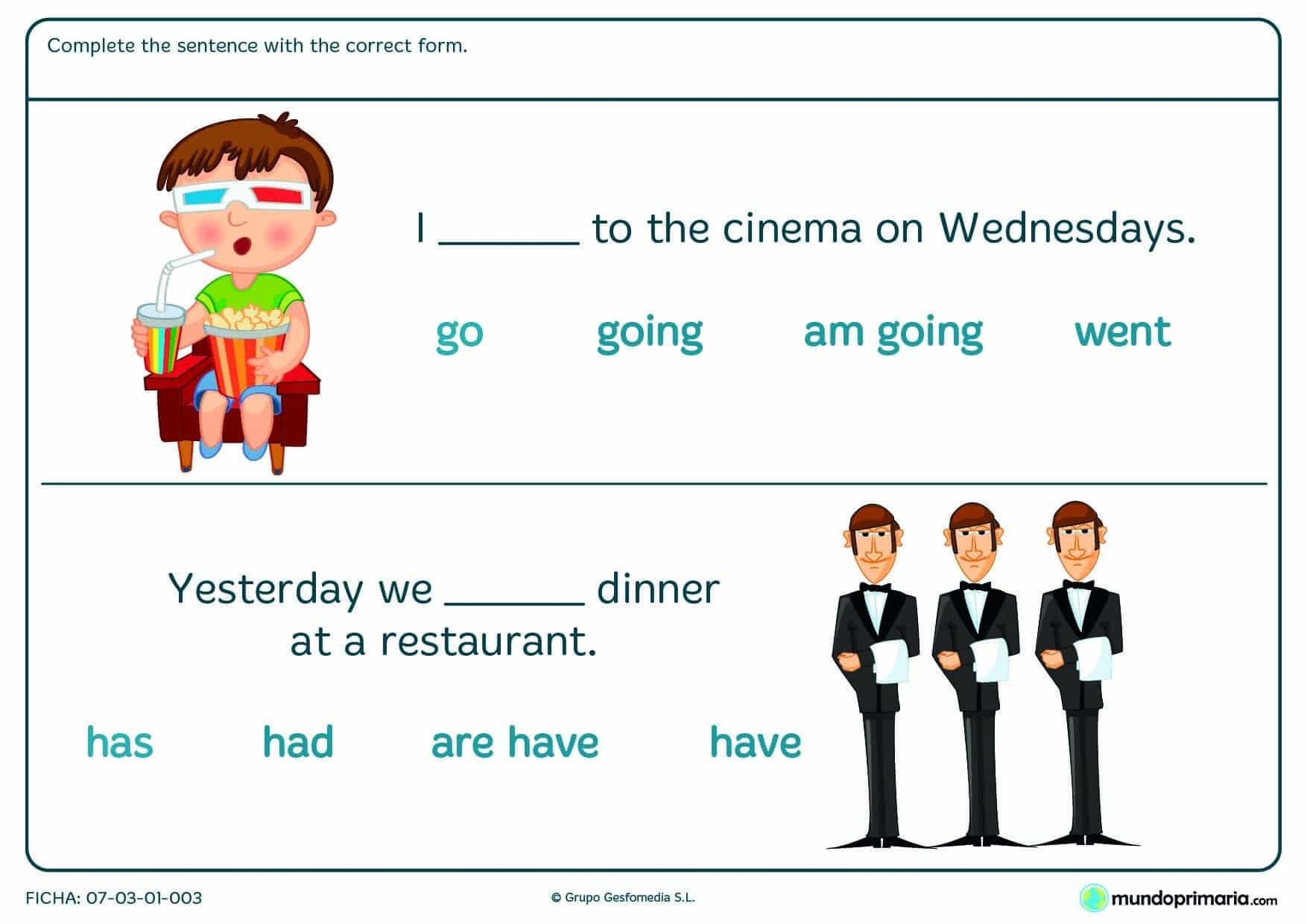 Ficha de completar la frase con la forma verbal para 5º de Primaria