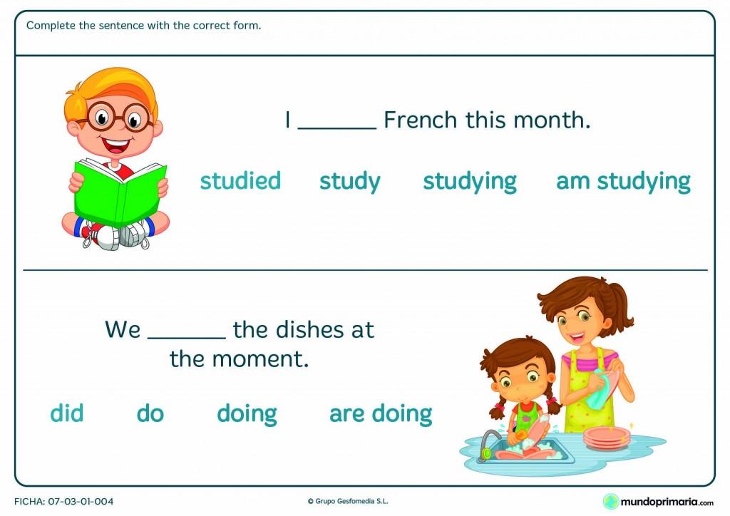 Termina esta ficha de inglés colocando el verbo exacto en el hueco