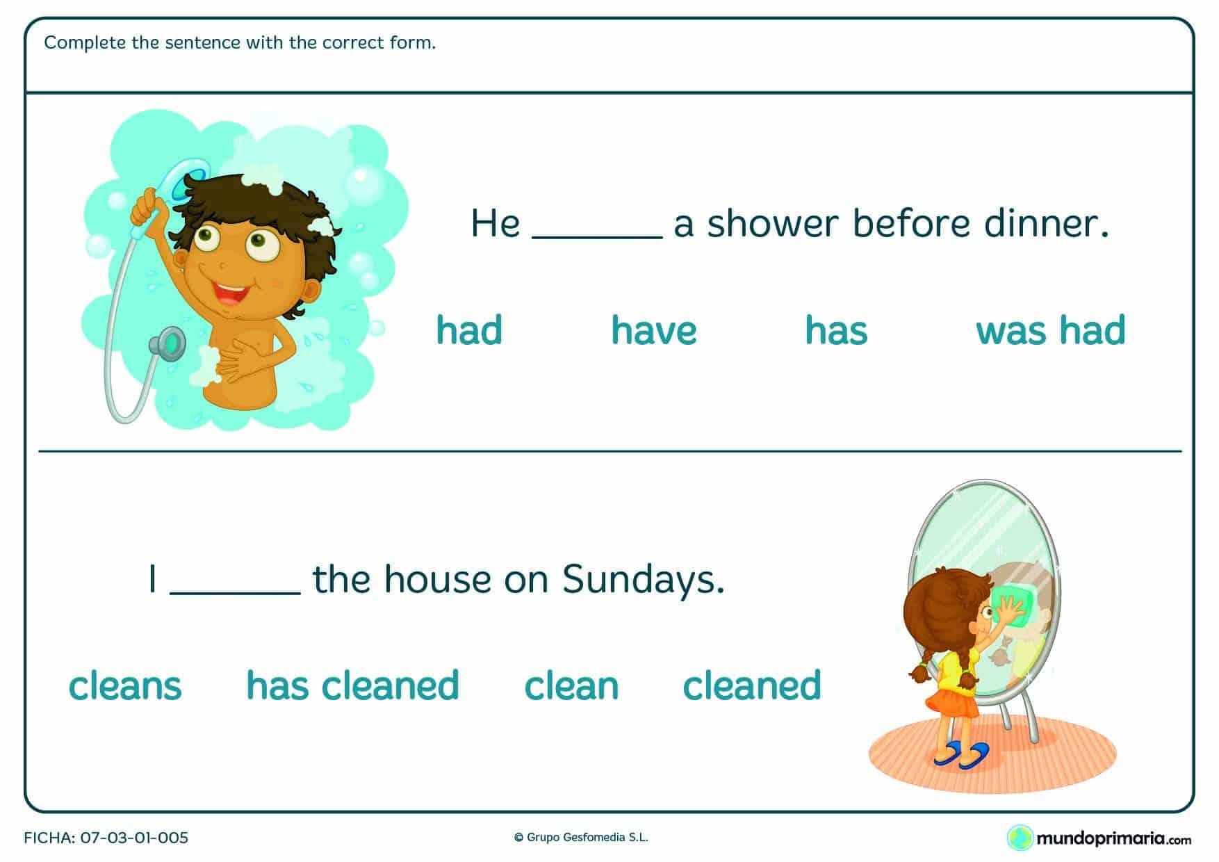 Ficha en la que hay que dar sentido a la frase con un verbo en inglés