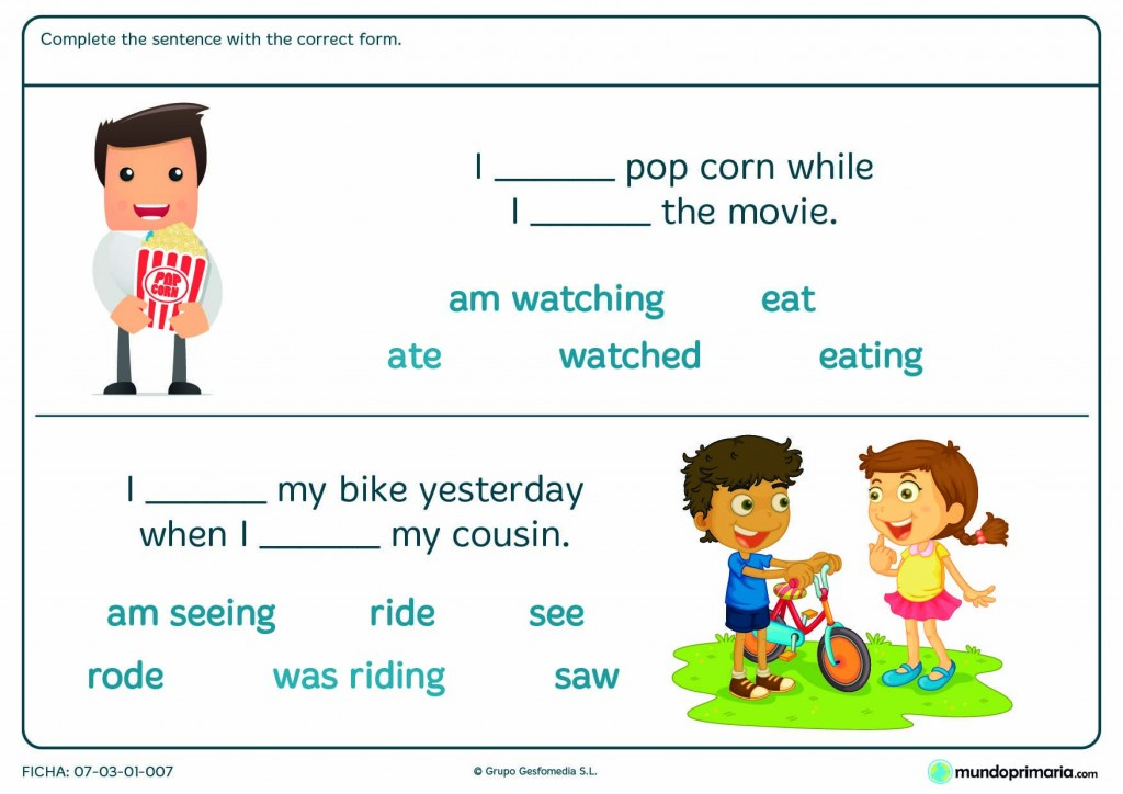 Lámina de complete the sentence with the correct form in english
