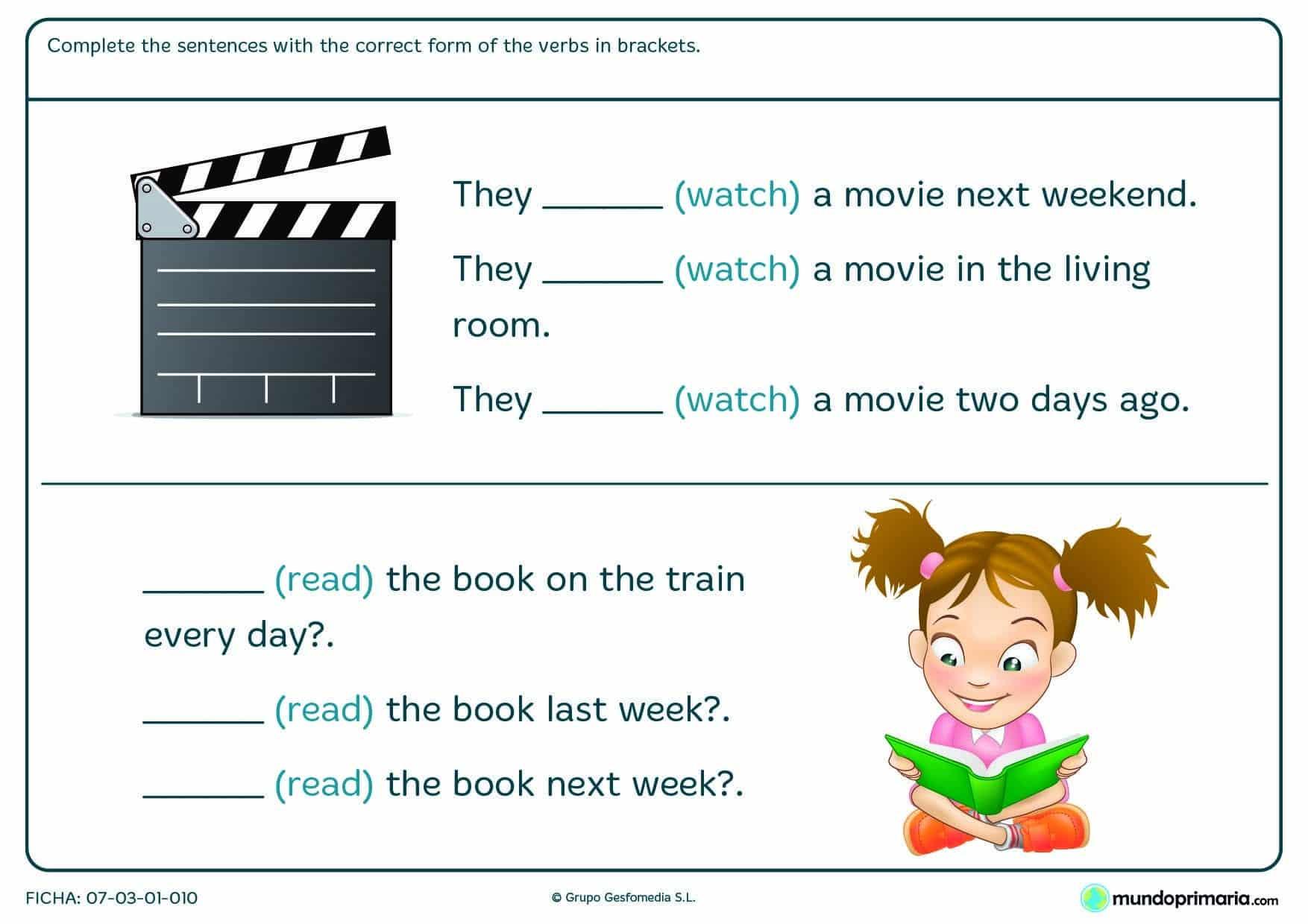 Lámina de gramática de escribir el término verbal en inglés para 5º