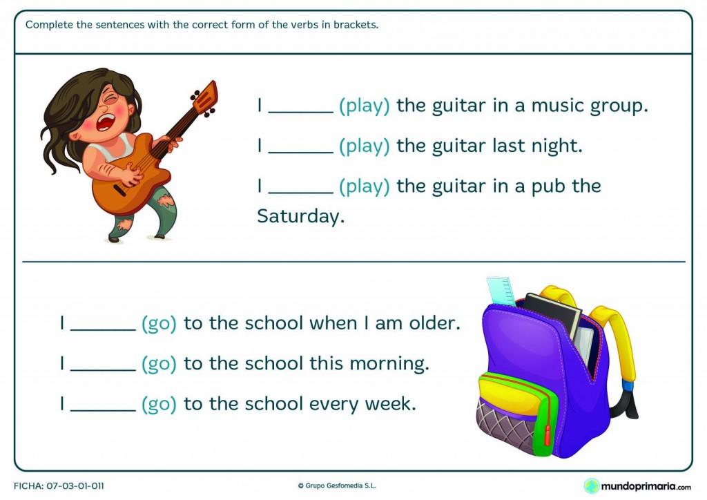 Ficha de completar con la forma del verbo to play y to go en inglés