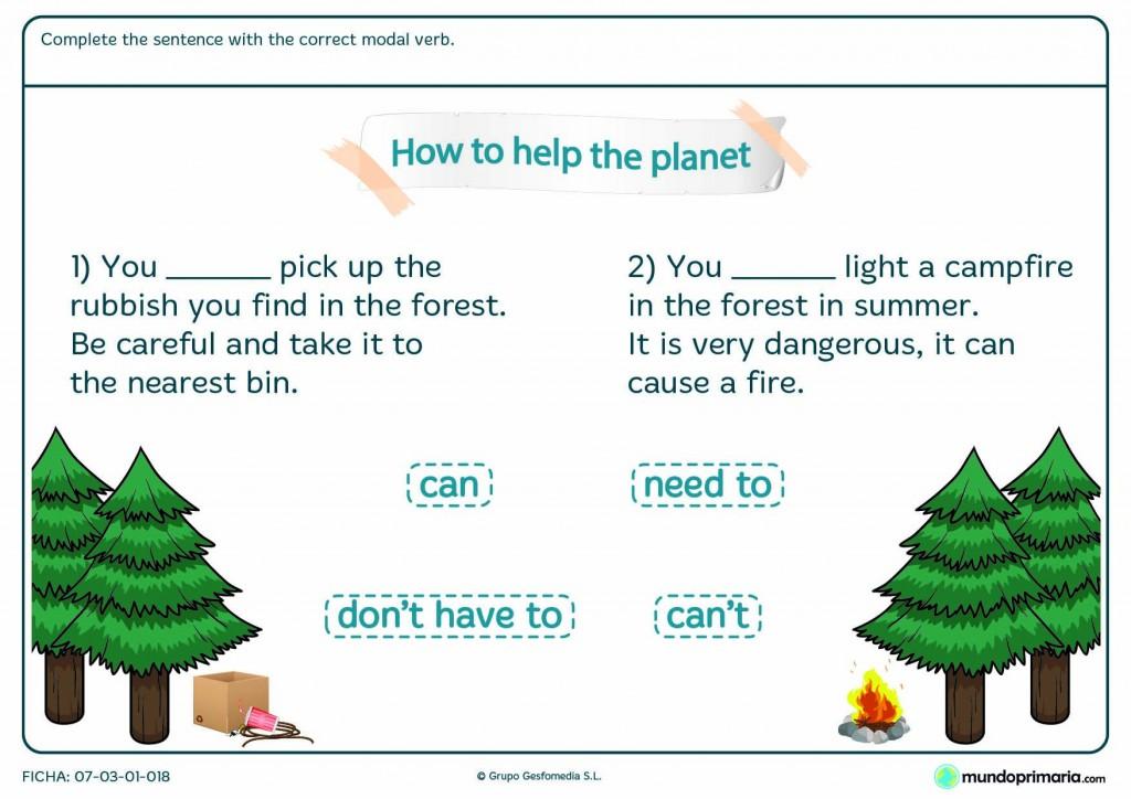 Ficha sobre medioambiente de elegir la forma verbal correcta en inglés