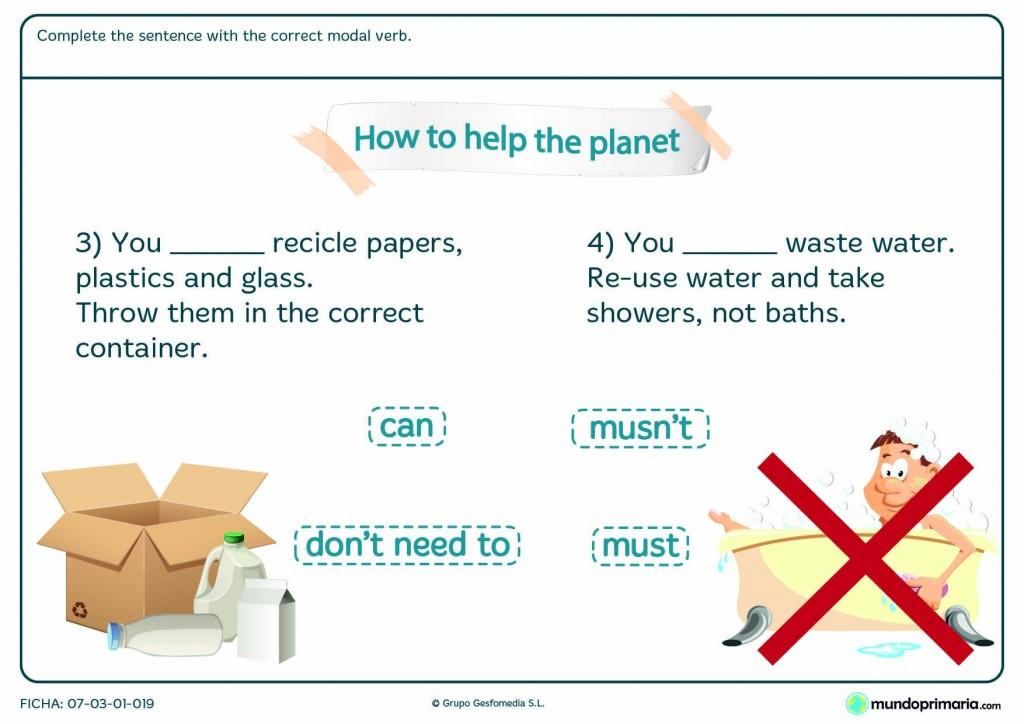 Ficha de reciclaje en inglés para alumnos de 5º curso de Primaria