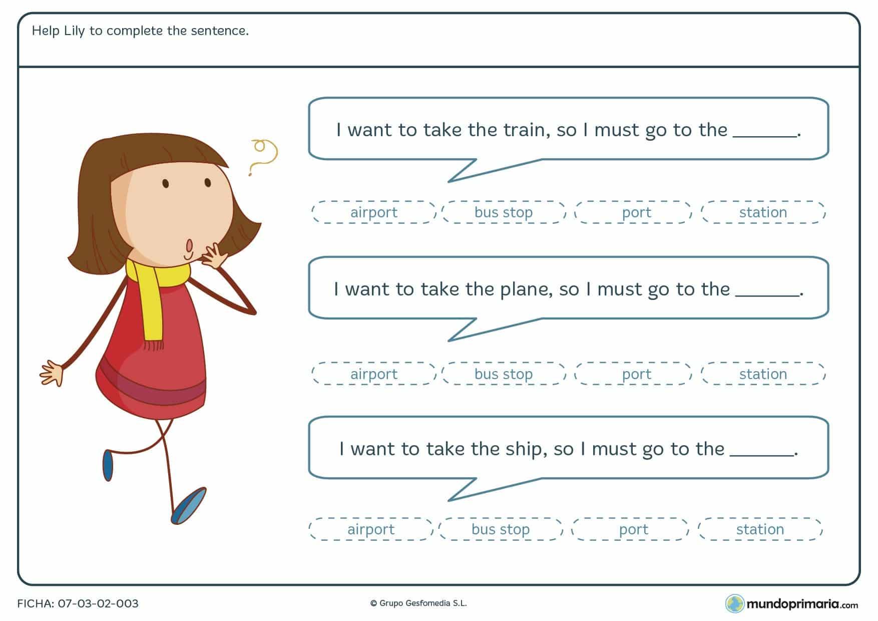 Ficha de ayudar a la niña a encontrar el lugar donde debe ir en inglés