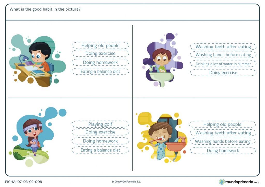 Ficha de acciones buenas que realizan los niños de 5º de Primaria