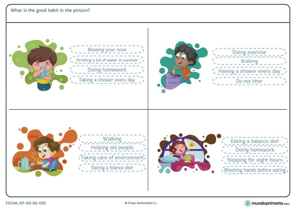 Ficha de relacionar el dibujo con las opciones propuestas en inglés