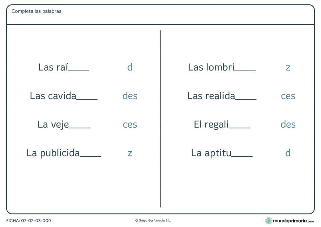 Ficha de las letras d, c y z como terminaciones para 4º de Primaria