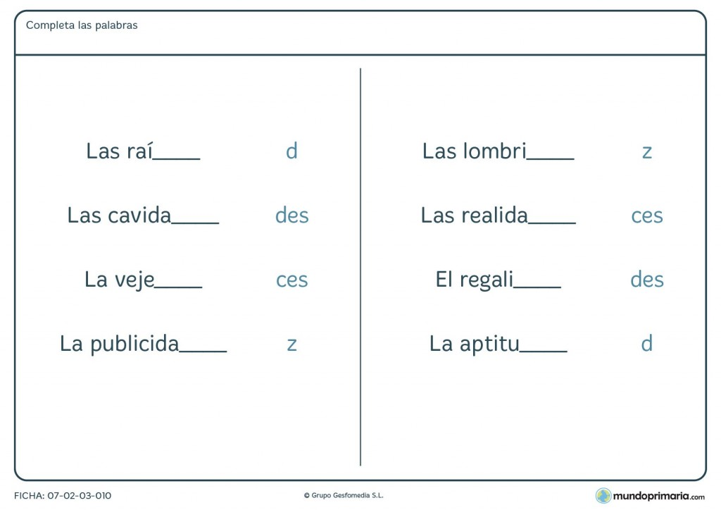 Ficha de palabras que acaban en c, d o z para niños de 4º Primaria