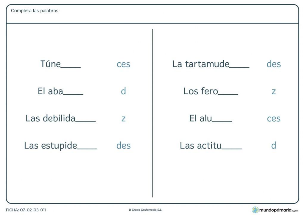 Ficha de palabras con una terminación que se confunde con otras letras