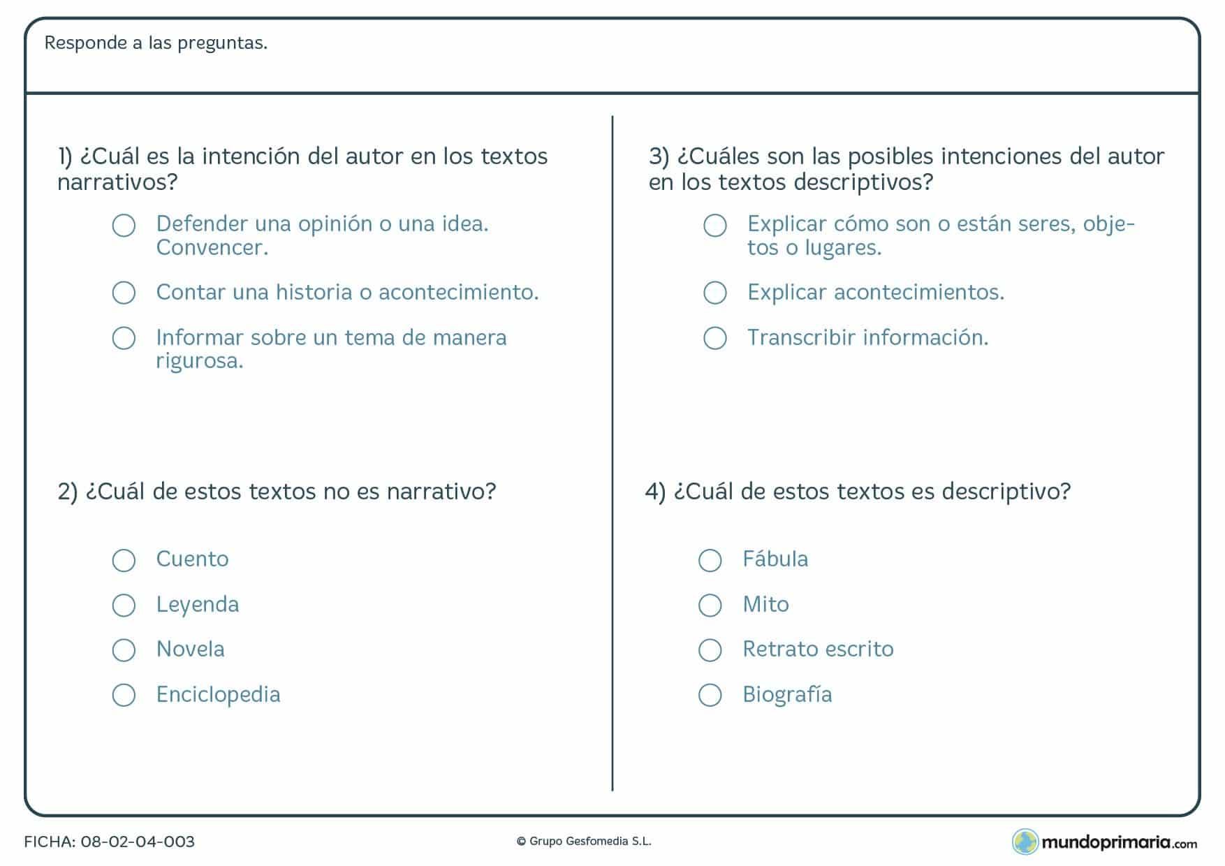 Ficha de responder a las preguntas sobre textos para niños de Primaria
