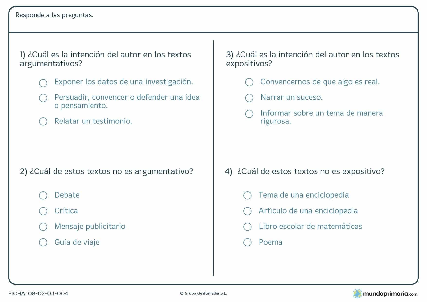 Ficha de textos argumentativos y no argumentativos para Primaria