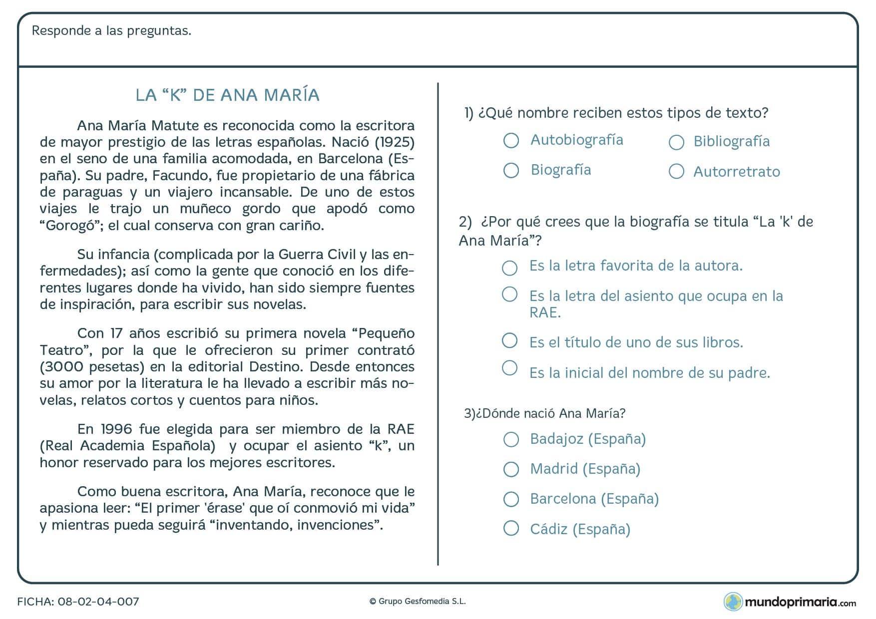 """Ficha de preguntas sobre el texto """"La K"""" de Ana María para Primaria"""