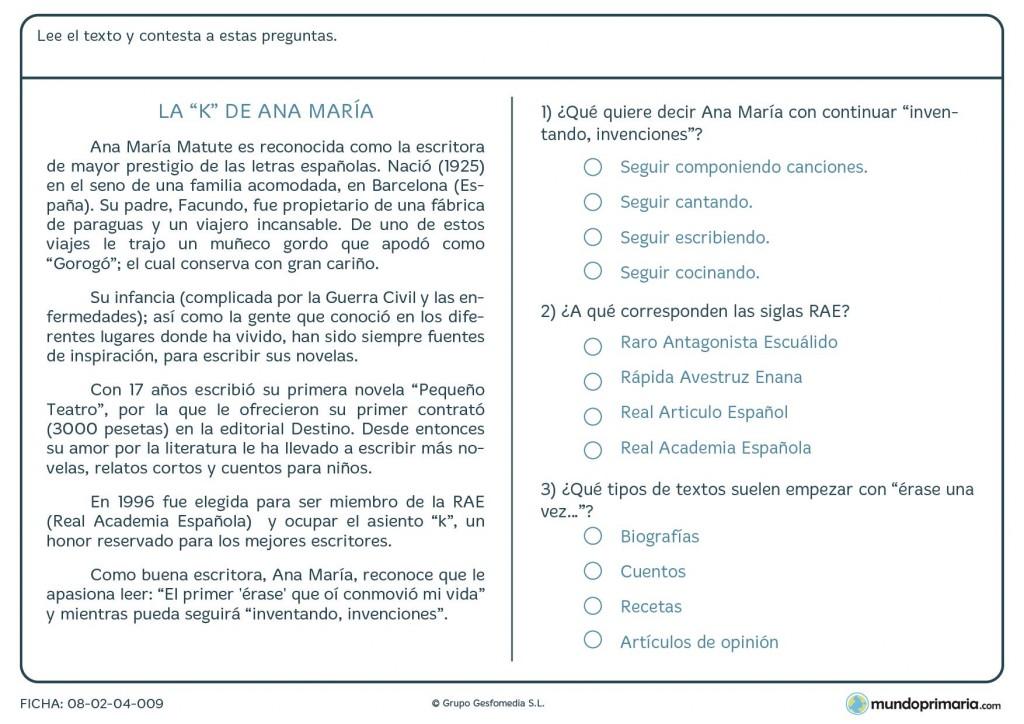Ficha de lenguaje de responder preguntas del texto para Primaria