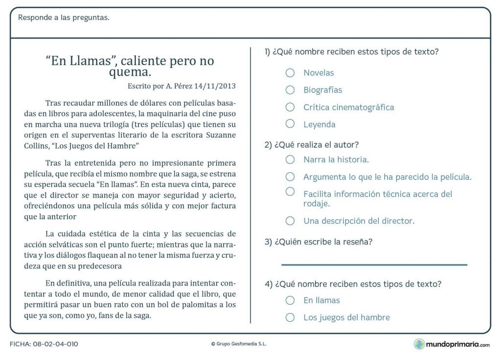 "Ficha del texto ""En Llamas, caliente pero no quema"" de A.Pérez"