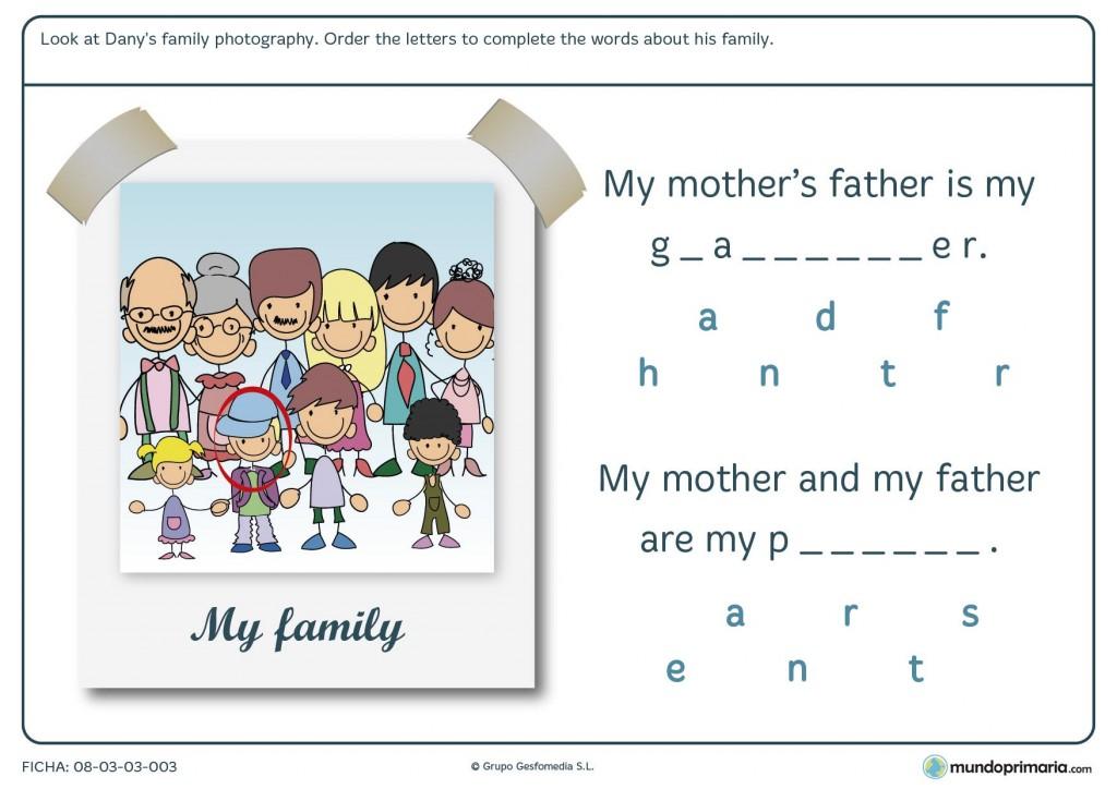 Ficha de parentescos en inglés para niños de 6º curso de Primaria
