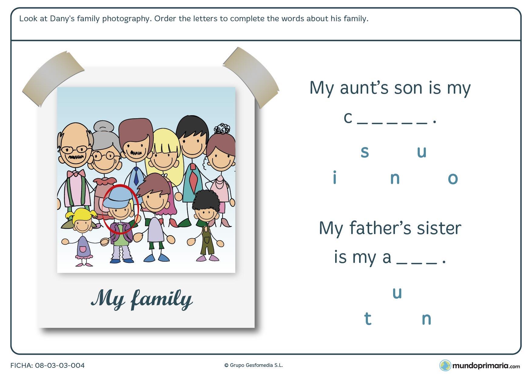 Lámina de relacionar personas de la familia ordenando las letras