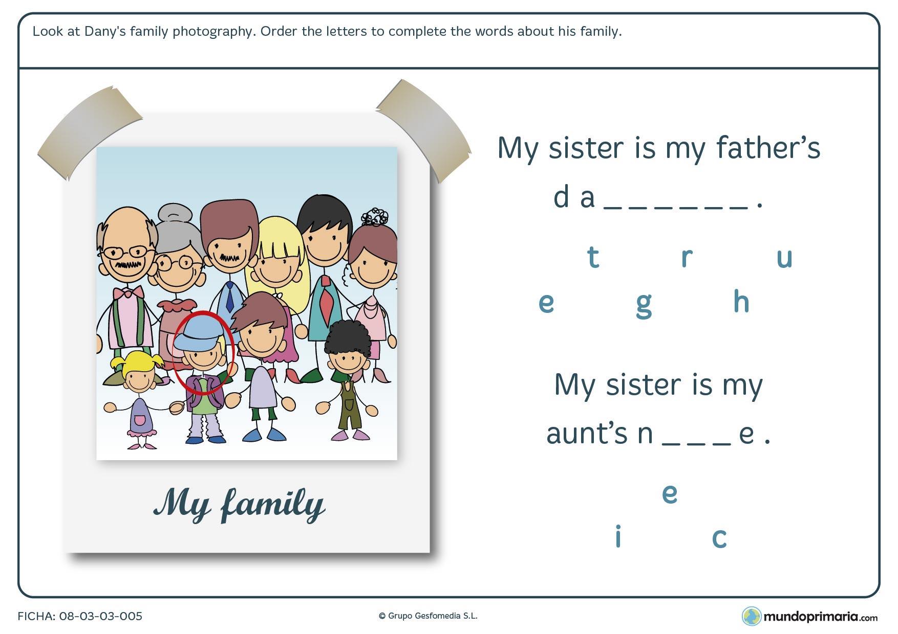 Ficha de organizar las letras para formar la palabra deseada en inglés
