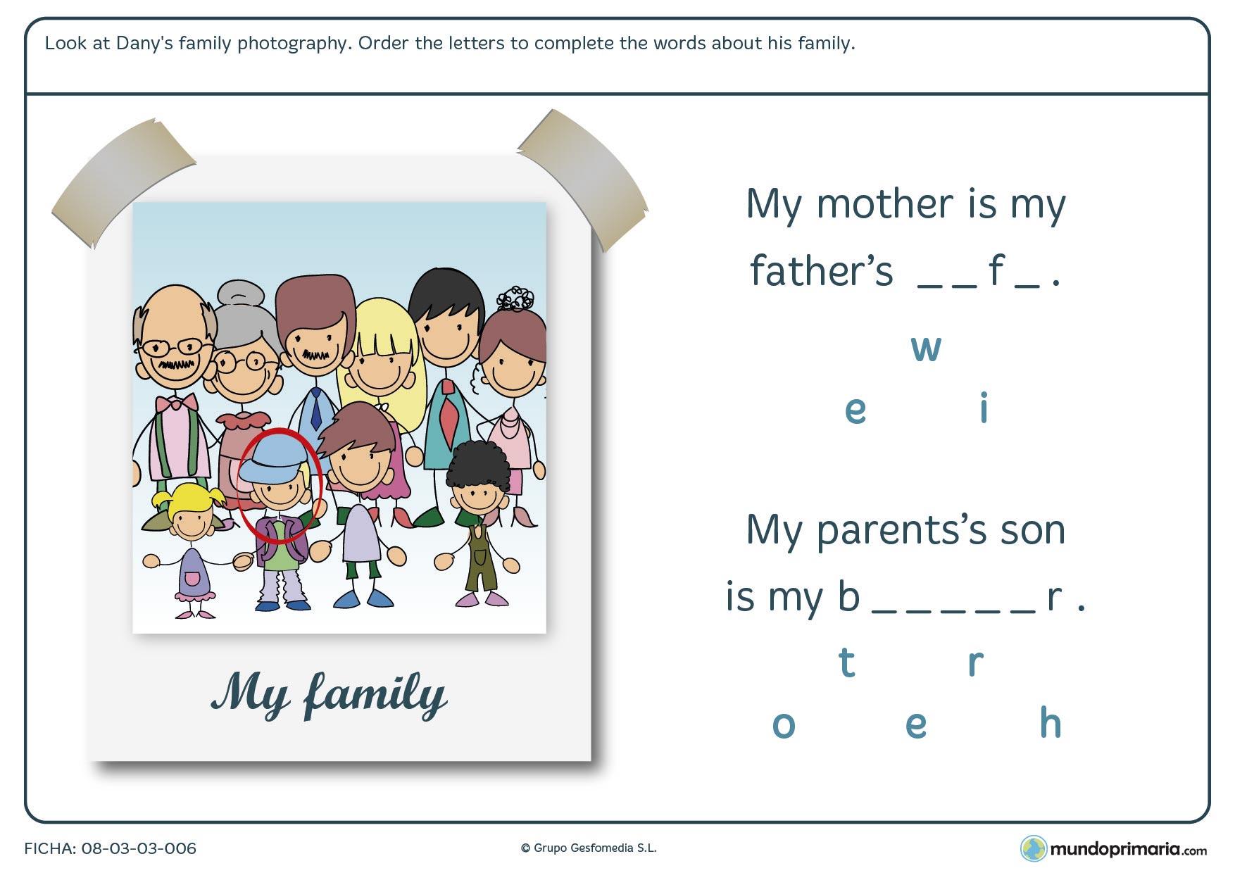 Ficha de establecer el vínculo entre las personas de una misma familia
