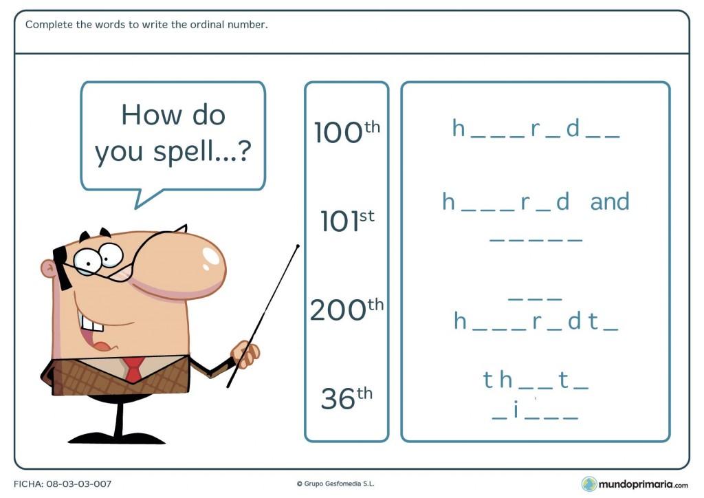 Lámina de deletrear números ordinales en inglés para niños de Primaria