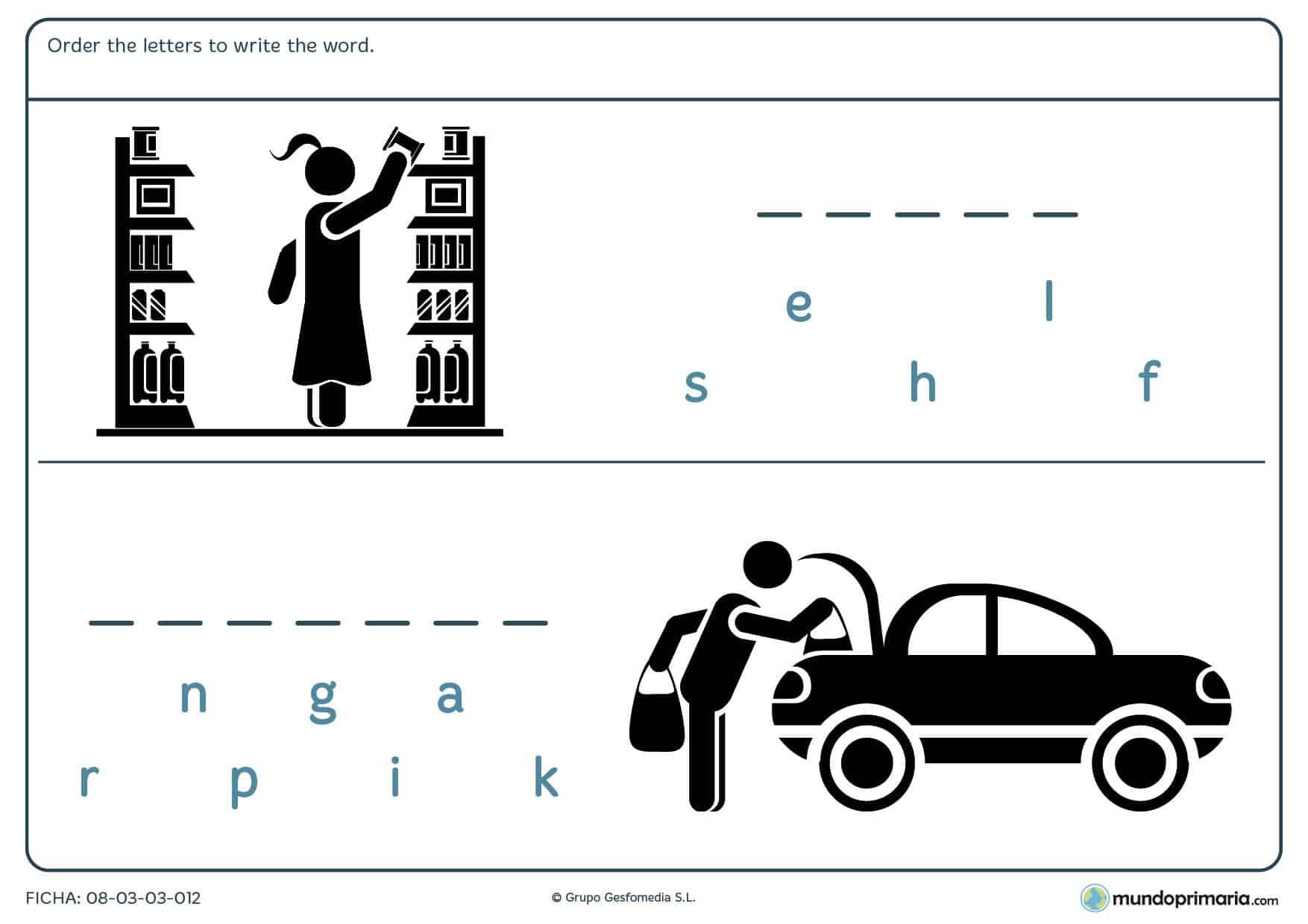 Ordena las letras en inglés y encuentra el significado de los dibujos