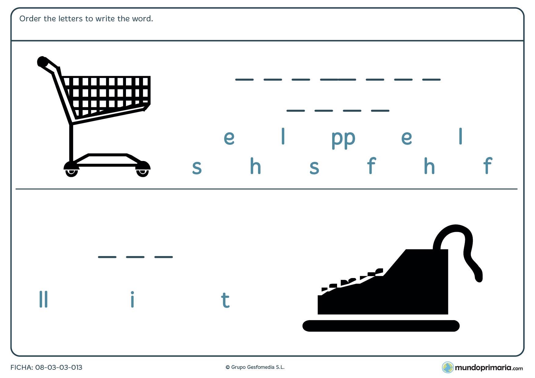 Escribe las letras en orden y forma la palabra para 6º de Primaria