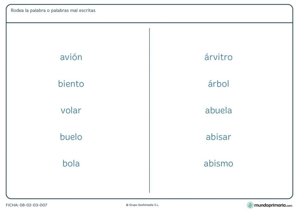 Ficha de b, v y acentos que pueden estar mal escritas para Primaria