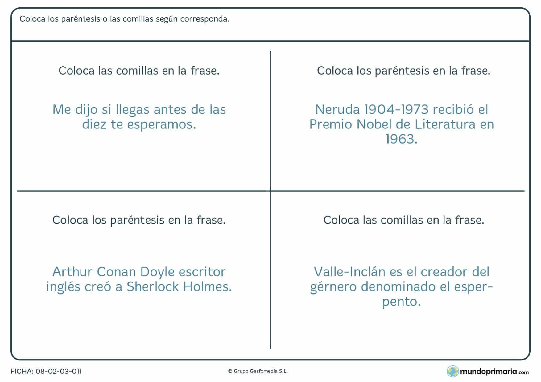 Ficha de situar comillas en refranes para alumnos de 6º de Primaria