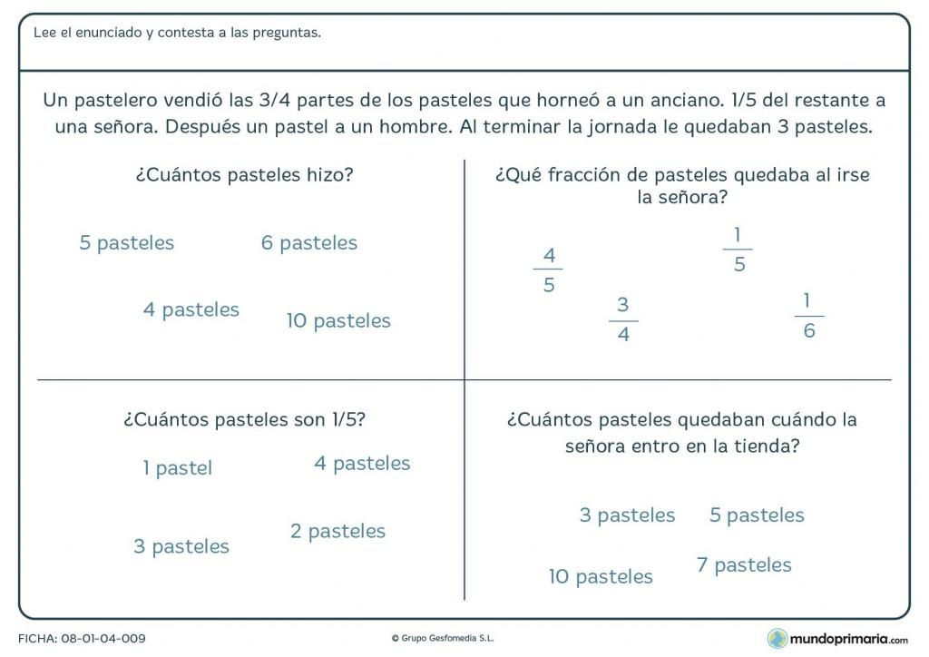 Ficha con problema y 4 respuestas con fracciones para 6º