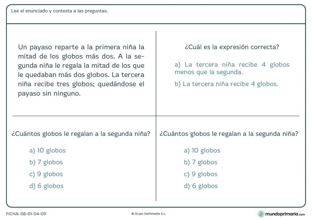Ficha de 3 preguntas a responder haciendo antes las operaciones por 6º