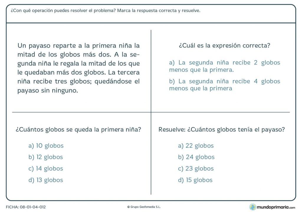 Ficha sobre globos con el uso de mitades y terceras partes para 6º