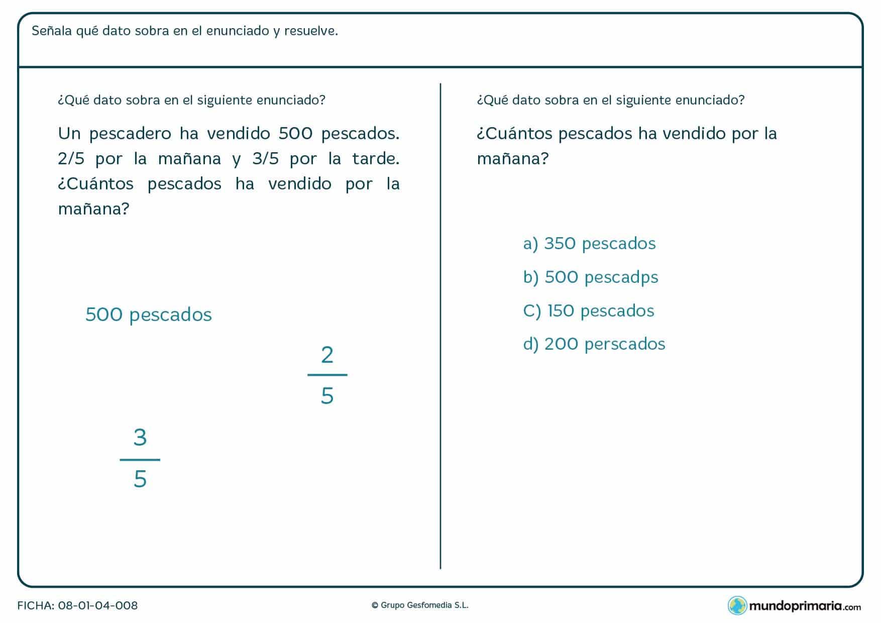 Ficha con problemas con fracciones y numeros enteros para 6º Primaria
