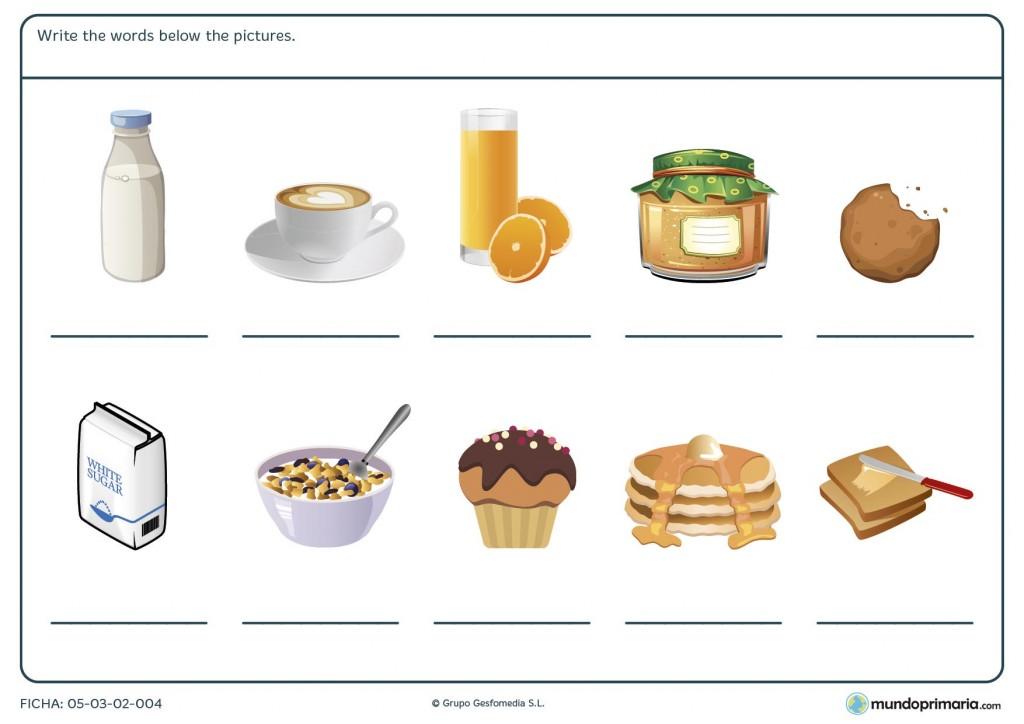Ficha de alimentos para el desayuno para primaria