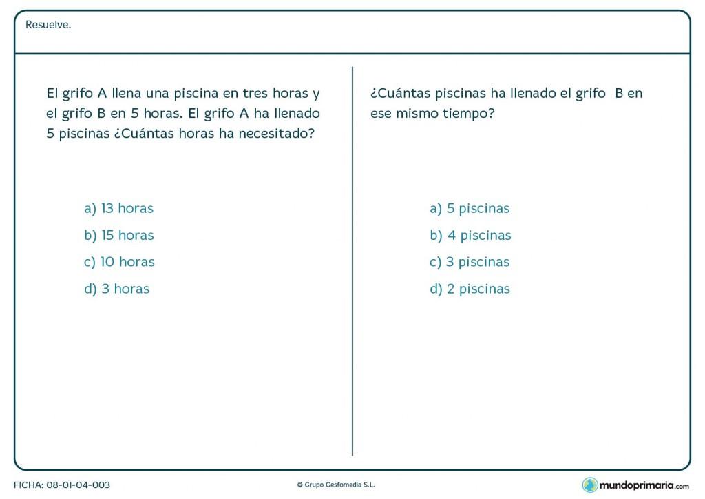 Ficha de calcular horas y el número de piscinas llenas para Primaria