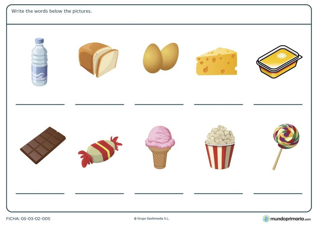 Ficha de comidas para primaria