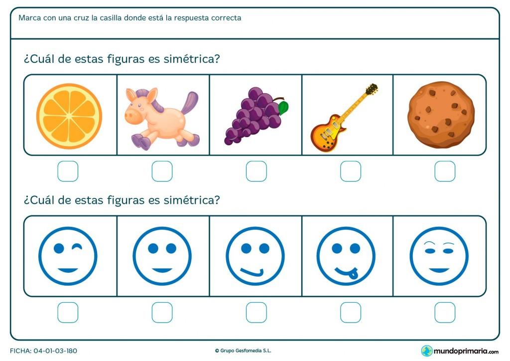 Ficha de diferenciar figuras simétricas y asimétricas para primaria